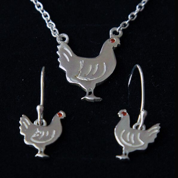 Hen Necklace and Dangly Earrings