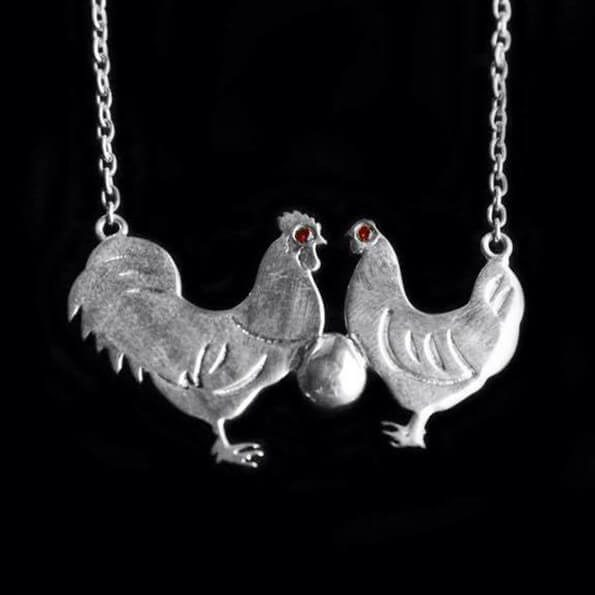 Cockerel & Hen Necklace
