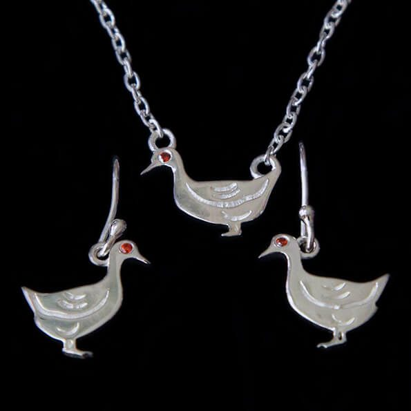 Duck Necklace and Dangly Earrings