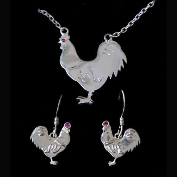 Cockerel Necklace and Dangly Earrings