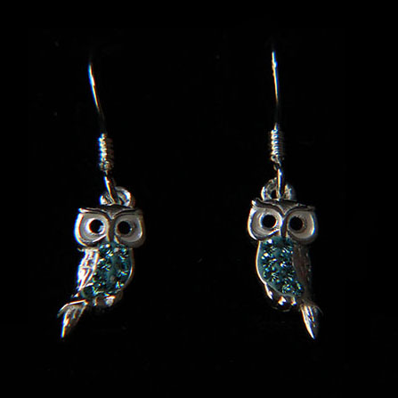 Aqua Owl Earrings