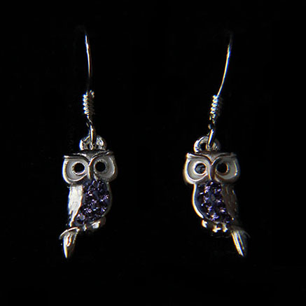 Tanzanite Crystal Owl Earrings