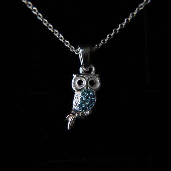 Aqua Crystal and Sterling Silver Owl Necklace