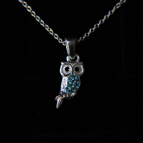 d56a82a53ff42a Aqua Crystal and Sterling Silver Owl Necklace – Peck & Feather
