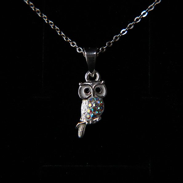 Crystal and Sterling Silver Owl Necklace