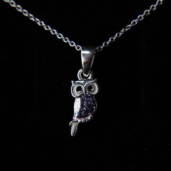 Purple Crystal and Sterling Silver Owl Necklace
