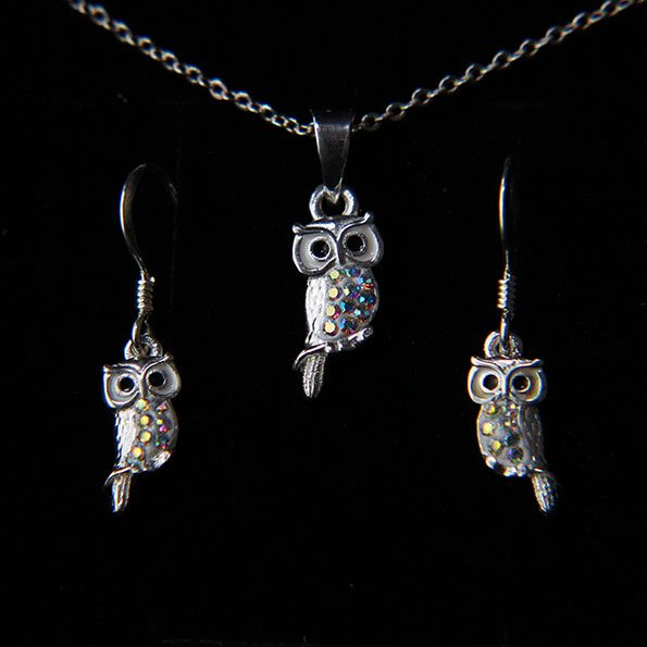 Sterling silver and crystal owl earring and necklace set