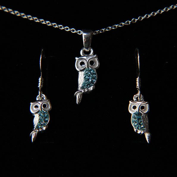 Sterling silver and aqua crystal owl earring and necklace set