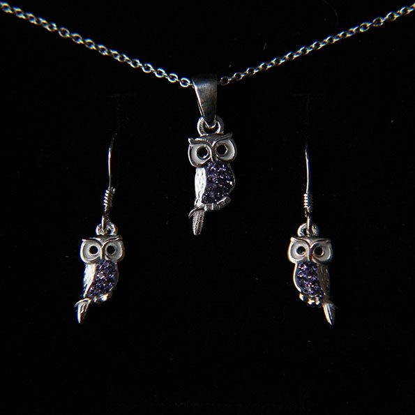 a36caaa3e00418 Sterling silver and purple crystal owl earring and necklace set – Peck &  Feather